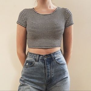 urban outfitters black & white striped cropped tee